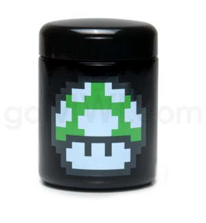 DISC Glass Jar 420 UV Screw Top 1/2oz-1-Up Mushroom