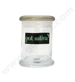 DIS Glass Cali Jar Grande Got Sativa? 1/2 oz.