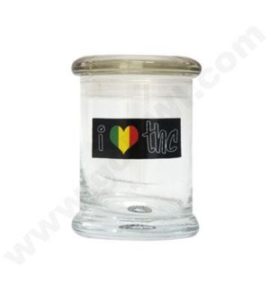 DISC Glass Cali Jar Grande  I Luv THC 1/2 oz.