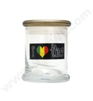 DISC Glass Cali Jar Venti I Luv THC 3/4 oz.