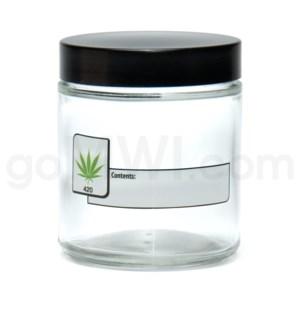 DISC Glass Jar 420 Screw Top 1/4oz-Leaf Write & Erase