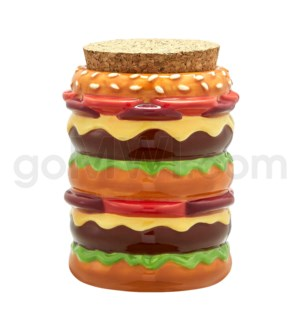 Fashioncraft 1 1/8 oz Ceramic Stash Jar - Cheeseburger