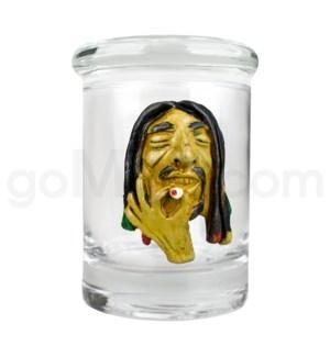 DISC Glass Jar Polyresin Clear - Rasta Man