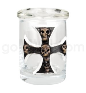 DISC Glass Jar Polyresin Clear - Biker Cross w/ Skulls
