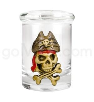 DISC Glass Jar Polyresin Clear - Skeleton Pirate
