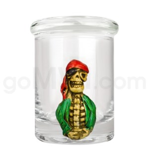 DISC Glass Jar Polyresin Clear - Skeleton Pirate 2