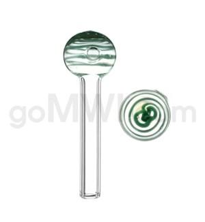 """Glass Oil Burner w/Swirl 4"""" - Green (20bg/1000cs)"""