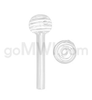 """Glass Oil Burner w/Swirl 4"""" - White (20bg/1000cs)"""
