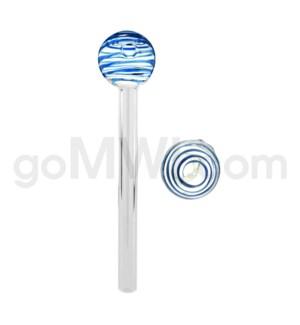 """Glass Oil Burner w/Swirl 6"""" - Blue (20bg/1000cs)"""