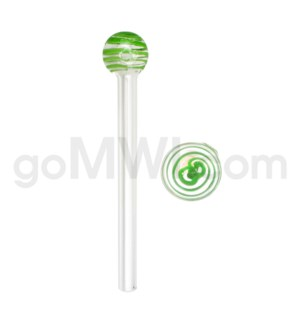 """Glass Oil Burner w/Swirl 6"""" - Green (20bg/1000cs)"""