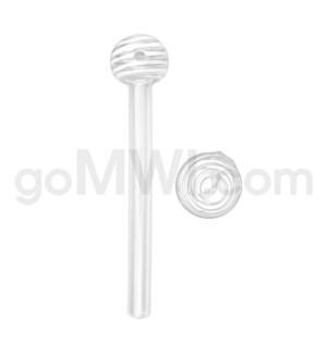 """Glass Oil Burner w/Swirl 6"""" - White (20bg/1000cs)"""