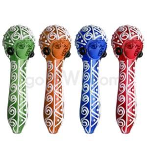 "O/S 4"" Spoon w/White Triangle Design - Asst. Colors"