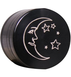 "Grinder 4pc-2.2"" CNC Black Laser Engraved design Moon"
