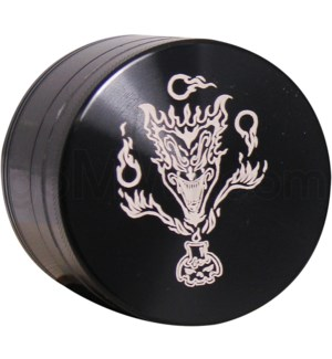 "Grinder 4pc-2.2"" CNC Black Laser Engraved design Devil"