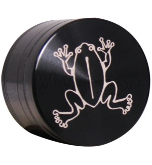 "Grinder 4pc-2.2"" CNC Black Laser Engraved design Frog"