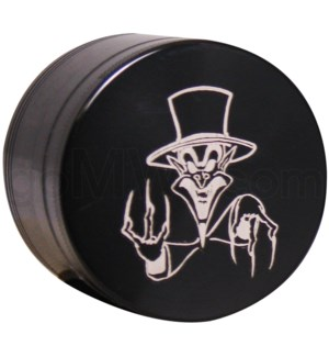 "Grinder 4pc-2.2"" CNC Black Laser Engraved designSkull w/HAT"