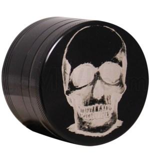 """Grinder 4pc-2.2"""" CNC Black Laser Engravd design Skull"""