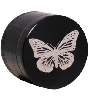 "Grinder 4pc-2.2"" CNC Black Lasr Engravd design Butterfly"