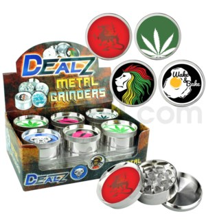 "Grinder  DEALZ 2.25""  3pc  Zinc Alloy Asst C 12pc"