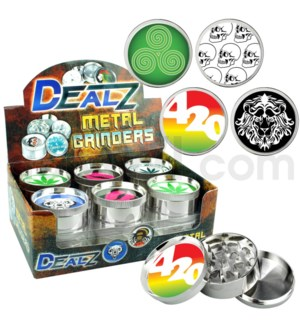 "Grinder  DEALZ 2.25"" 3pc  Zinc Alloy Asst D 12pc"