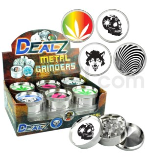 "Grinder  DEALZ 2.25""  3pc  Zinc Alloy Asst E 12pc"