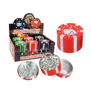 "Grinder 1.60"" 3pc Metal Poker Chip 12PC/BX 12/12/144"