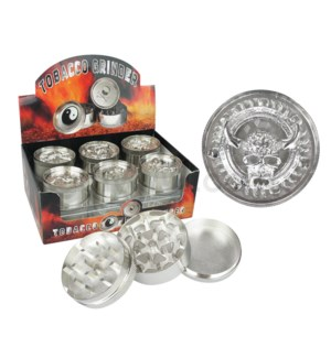 "Grinder 3pc 52mm 2.1"" Assorted Skull Designs Silver 12PC/BX"
