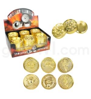 """Grinder 3pc 52mm 2.1"""" Assorted Skull Design Gold 12PC/BX"""