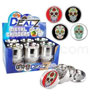 "Grinder: Dealz 2.25"" 4pc Epoxy Zinc Asst A 12pc Sugar Skull"