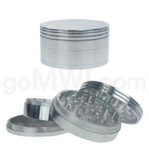 """Grinder 3"""" 80mm 4pc Metal Silver"""