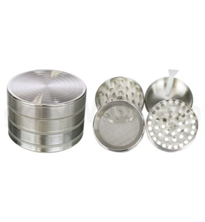 """Grinder 4pc 52mm 2.1"""" Silver 12PC/BX"""
