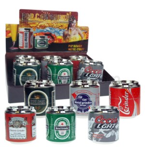 """Grinder 4pc 52mm 2.1"""" Assorted Can Designs 6PC/BX"""