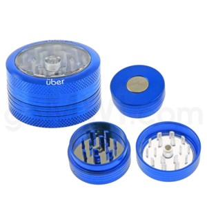"DISC Grinder Uber 2 pc CNC Clear Top Push Out -1.5 "" Blue"