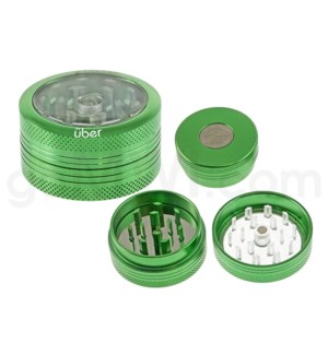 "DISC Grinder Uber 2 pc CNC Clear Top -1.5 "" Green"