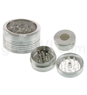 "DISC Grinder Uber 2 pc CNC Clear Top -1.5 "" Silver"