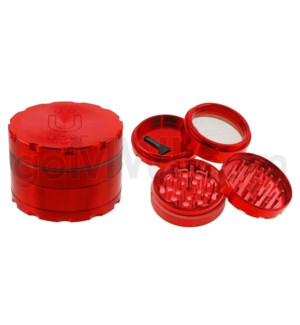 "Uber Grinder 4 pc CNC 62mm 2.5"" Red 10PC/BX"