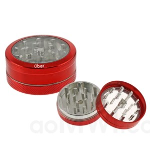 "DISC Grinder Uber 2 pc CNC Clear Top 50mm-2 "" Red"