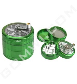 "Uber Grinder 4 pc CNC Clear Top & Hand Crank 62mm 2.5"" Green"