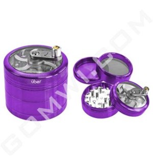 "Uber Grinder 4 pc CNC Clear Top & Hand Crank 62mm 2.5"" Purple"