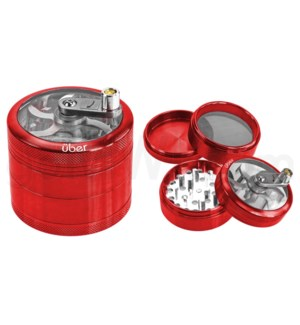 "Uber Grinder 4 pc CNC Clear Top & Hand Crank 62mm 2.5"" Red"