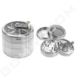 "Uber Grinder 4 pc CNC Clear Top & Hand Crank 62mm 2.5"" Silver"
