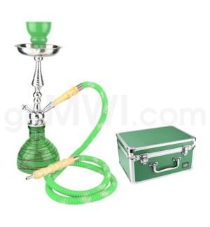 """DISC Hookah Premium 1-HS-17"""" Amira Green W/Case"""