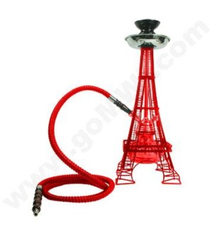 "DISC Hookah Inhale1-HS 17""  Eiffel Tower - Red"