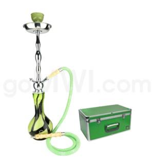 """DISC  Hookah Premium 1-HS-27"""" Amira Green W/Case"""