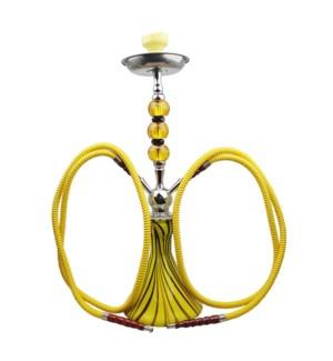 "DISC Hookah Premium 2-HS 26"" Vase w/Crystals - Yellow Swirl"