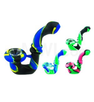 """Silicone 5"""" Glass Hyprid Sherlock Pipe-Assorted Colors"""