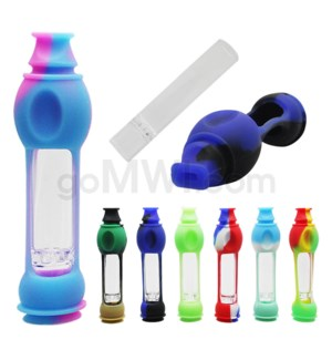 "Silicone 4.5"" Chillum w/ Mouthpiece - Assorted Colors"