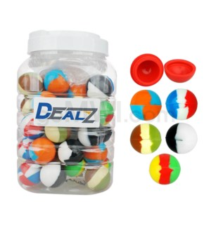 """Kit:SIL101 1.5"""" Silicone Sphere Containers Asst Swirls (50ct"""