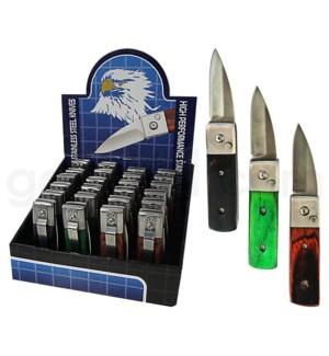 "DISC  Knife Display 3"" Wood Handle Pocket Knife 24pc."