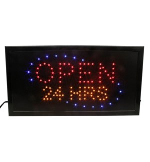 "LED/SIGN OPEN 24 HRS19"" x 10"""